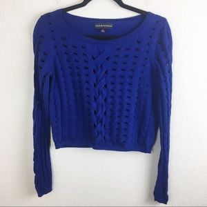 Rock & Republic Blue Cable Knit Cropped Sweater M